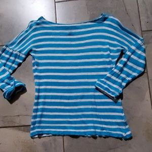 Ralph Lauren Blue Stripe Linen Boat Neck Top S